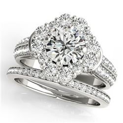 3.03 CTW Certified VS/SI Diamond 2Pc Wedding Set Solitaire Halo 14K White Gold - REF-623F3M - 31109