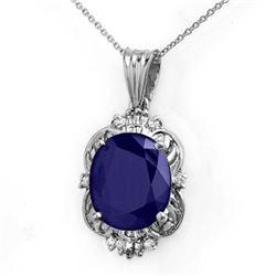 8.59 CTW Blue Sapphire & Diamond Pendant 18K White Gold - REF-84W5H - 14103