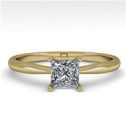 0.50 CTW Princess Cut VS/SI Diamond Engagement Designer Ring 14K Yellow Gold - REF-83X6T - 38450