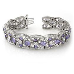 24.0 CTW Tanzanite & Diamond Bracelet 14K White Gold - REF-943M5F - 13461