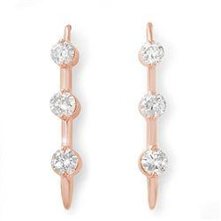 1.0 CTW Certified VS/SI Diamond Solitaire Stud Earrings 14K Rose Gold - REF-116M2F - 12822