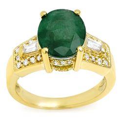 4.55 CTW Emerald & Diamond Ring 10K Yellow Gold - REF-63W6H - 10956
