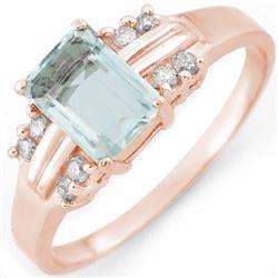 1.41 CTW Aquamarine & Diamond Ring 18K Rose Gold - REF-41X8T - 10588