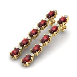 15.47 CTW Garnet & VS/SI Certified Diamond Tennis Earrings 10K Yellow Gold - REF-74T8X - 29482