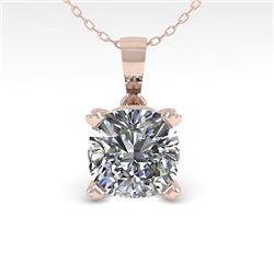 0.50 CTW VS/SI Cushion Diamond Designer Necklace 14K White Gold - REF-85M8F - 38413