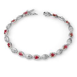 4.17 CTW Ruby & Diamond Bracelet 10K White Gold - REF-44R8K - 14302