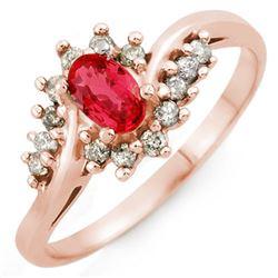 0.55 CTW Red Sapphire & Diamond Ring 14K Rose Gold - REF-29R8K - 10144