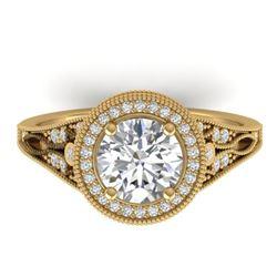 2.2 CTW Certified VS/SI Diamond Art Deco Micro Halo Ring 14K Yellow Gold - REF-681W6H - 30527