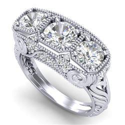 2.51 CTW VS/SI Diamond Solitaire Art Deco 3 Stone Ring 18K White Gold - REF-436Y4N - 36989