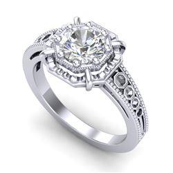 1 CTW VS/SI Diamond Solitaire Art Deco Ring 18K White Gold - REF-318T3X - 36872