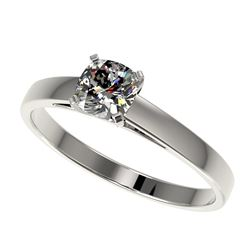 0.50 CTW Certified VS/SI Quality Cushion Cut Diamond Solitaire Ring 10K White Gold - REF-77R6K - 329
