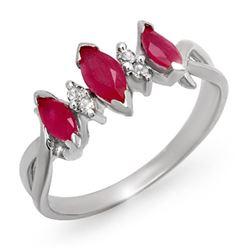 0.57 CTW Ruby & Diamond Ring 18K White Gold - REF-29K6R - 12701