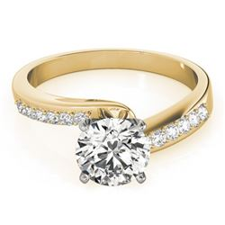 1.4 CTW Certified VS/SI Diamond Bypass Solitaire Ring 18K Yellow Gold - REF-486M2F - 27683