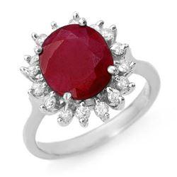 3.68 CTW Ruby & Diamond Ring 14K White Gold - REF-81T8X - 12710