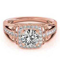 1.3 CTW Certified VS/SI Diamond Solitaire Halo Ring 18K Rose Gold - REF-388N8Y - 26552