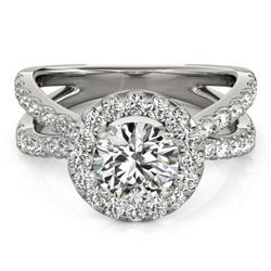 2.01 CTW Certified VS/SI Diamond Solitaire Halo Ring 18K White Gold - REF-424Y8N - 26769