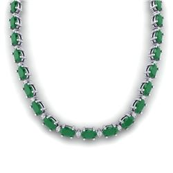 71.85 CTW Emeral & VS/SI Certified Diamond Eternity Necklace 10K White Gold - REF-563X6T - 29506