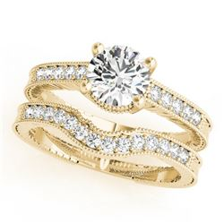 0.45 CTW Certified VS/SI Diamond Solitaire 2Pc Wedding Set Antique 14K Yellow Gold - REF-94R2K - 315