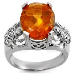 6.20 CTW Citrine & Diamond Ring 10K White Gold - REF-52X8T - 10753