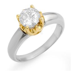1.0 CTW Certified VS/SI Diamond Solitaire Ring 14K 2-Tone Gold - REF-291X3T - 11135