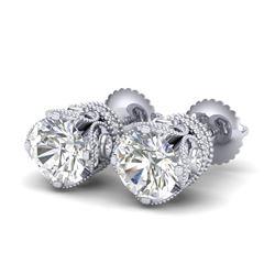 3 CTW VS/SI Diamond Solitaire Art Deco Stud Earrings 18K White Gold - REF-622M2F - 36860