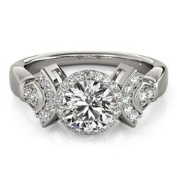 1.56 CTW Certified VS/SI Diamond Solitaire Halo Ring 18K White Gold - REF-506K9R - 26949