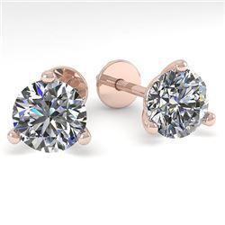 1.53 CTW Certified VS/SI Diamond Stud Earrings Martini 18K Rose Gold - REF-303K8R - 32210
