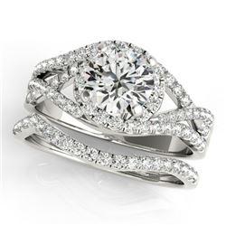 2.15 CTW Certified VS/SI Diamond 2Pc Set Solitaire Halo 14K White Gold - REF-581K5R - 31012