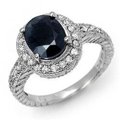 3.10 CTW Blue Sapphire & Diamond Ring 14K White Gold - REF-53W8H - 11928