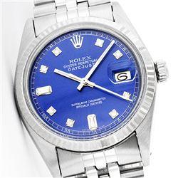Rolex Men's Stainless Steel, QuickSet, Diamond Dial with Fluted Bezel - REF-338Z2Y