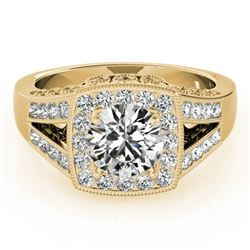 1.65 CTW Certified VS/SI Diamond Solitaire Halo Ring 18K Yellow Gold - REF-608R9K - 27029