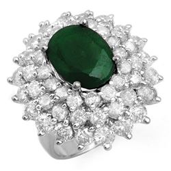 10.02 CTW Emerald & Diamond Ring 18K White Gold - REF-368K4R - 13306