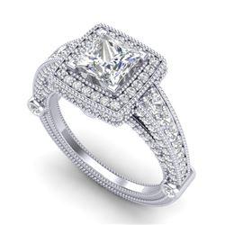 2.53 CTW Princess VS/SI Diamond Solitaire Art Deco Ring 18K White Gold - REF-509N3Y - 37124