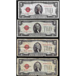 Lot of (4) 1928 $2 Legal Tender Notes