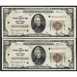 Lot of (2) 1929 $20 Federal Reserve Bank of New York National Currency Notes