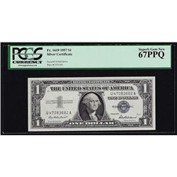 1957 $1 Silver Certificate Note Fr. 1619 PCGS Superb Gem New 67PPQ