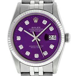 Mens Rolex 36mm Stainless Steel Purple Diamond Datejust Wristwatch