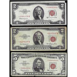 Lot of (2) 1953 $2 & 1963 $5 Legal Tender STAR Notes