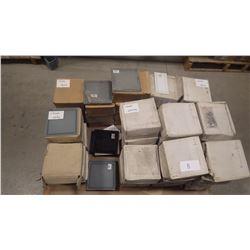 "7 1/2"" X 7 1/2"" GLASS WALL TILES IN BLACK 215 PCS, BLUE 62 PCS, MATTE BLUE 92 PIECES, WHITE, 109 PCS"