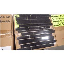 "12"" X 12"" BLACK LIMESTONE MINI PLANKING MOSAIC,POLISHED, 50 PCS"
