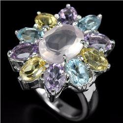 Natural Rose Quartz Citrine Amethyst Ring