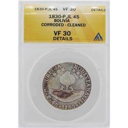 1830-P JL Bolivia 4 Soles Coin ANACS VF30 Details