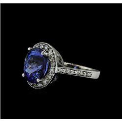 5.03 ctw Tanzanite and Diamond Ring - 14KT White Gold