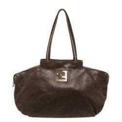 Fendi Brown Metallic Leather Zipper Hobo Shoulder Bag