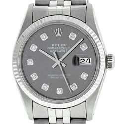 Rolex Mens 36mm Stainless Steel Dark Rhodium Diamond Datejust Wristwatch
