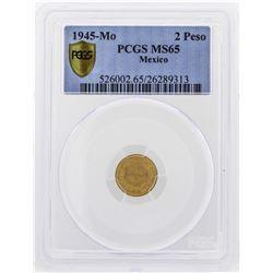 1945-Mo Mexico 2 Pesos Gold Coin PCGS MS65