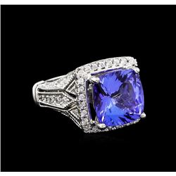 5.56 ctw Tanzanite and Diamond Ring - 14KT White Gold