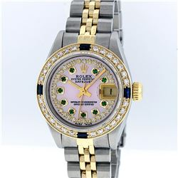 Rolex Two-Tone Pink MOP Emerald and Sapphire Diamond DateJust Ladies Watch