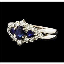 0.93 ctw Sapphire and Diamond Ring - Platinum