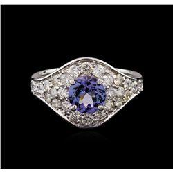 1.30 ctw Tanzanite and Diamond Ring - 14KT White Gold